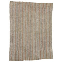 Vintage Turkish Kilim with Rustic Industrial Style, Striped Kilim Rug