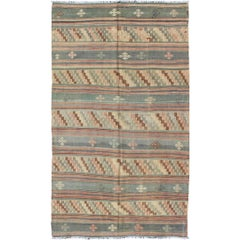 Vintage Turkish Kilim with stripped Embroidery in Multi Warm Butter and Green