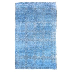 Vintage Turkish Konya Rug Over-Dyed in Blue Color with All-Over Diamond Design