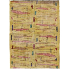 Vintage Turkish Mid-Century Modern Rug in Yellow Color and Modern Design