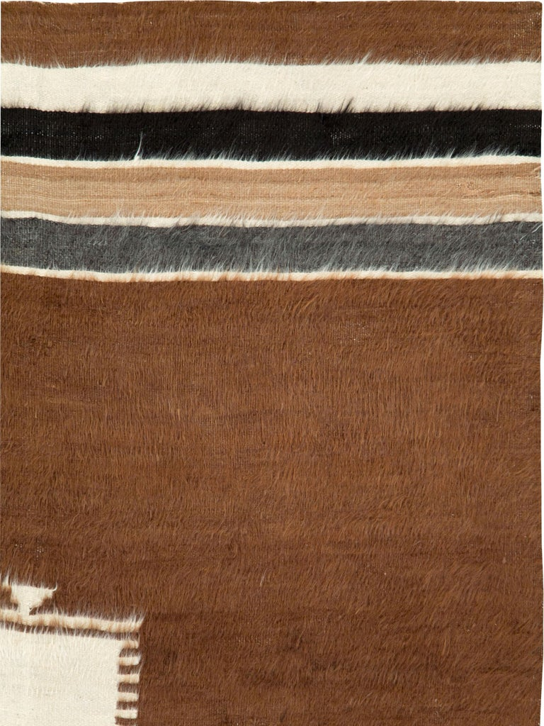 A vintage Turkish Mohair rug from the mid-20th century.