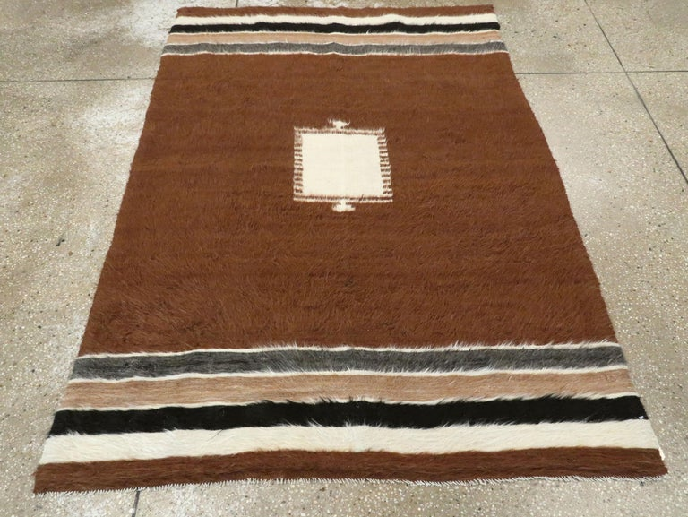 Hand-Knotted Vintage Turkish Mohair Rug For Sale