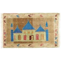 Vintage Turkish Mosque Pictorial Rug