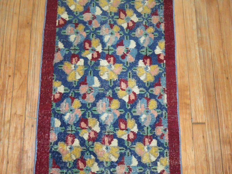 Wild colored vintage Turkish Narrow runner from the middle of the 20th century.