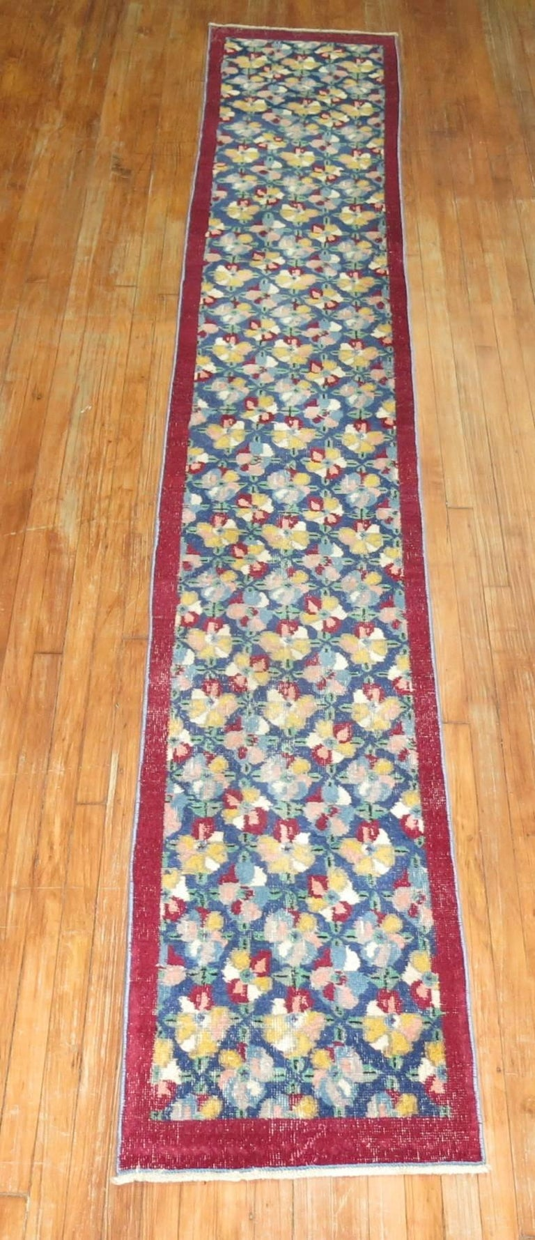Hand-Woven Vintage Turkish Narrow Runner For Sale