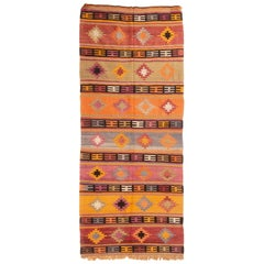 Vintage Turkish Orange and Purple Multi-Color Wool Kilim Rug