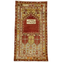 Vintage Turkish Oushak Accent Rug, Turkish Prayer Rug, Entry or Foyer Rug