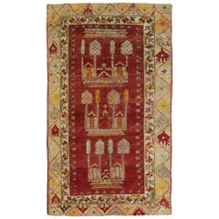Vintage Turkish Oushak Accent Rug, Turkish Prayer Rug