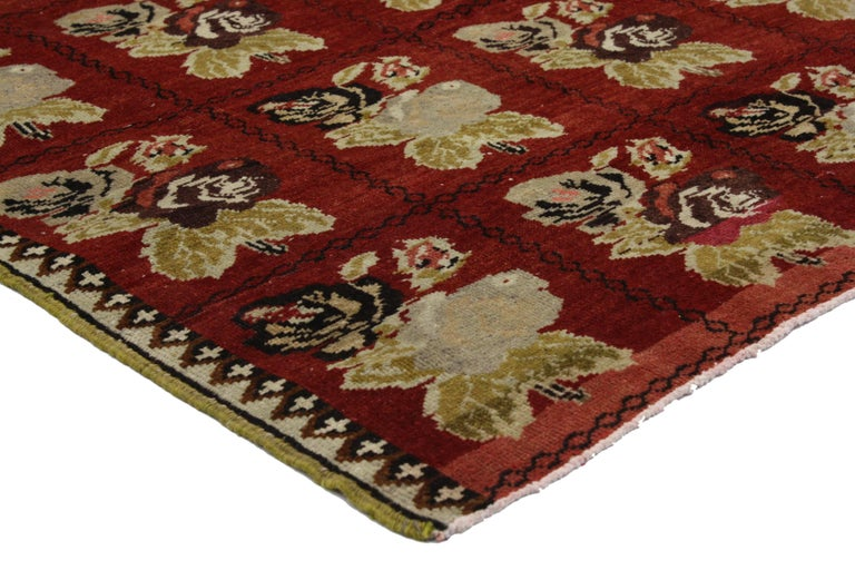Hand-Knotted Vintage Turkish Oushak Accent Rug with Farmhouse Style For Sale