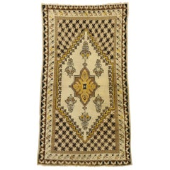 Vintage Turkish Oushak Accent Rug with Modern Shaker Style