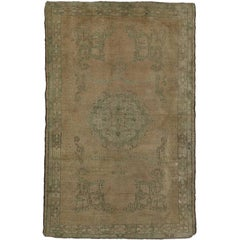 Distressed Vintage Turkish Oushak Rug with Rustic Style, Foyer or Entry Rug
