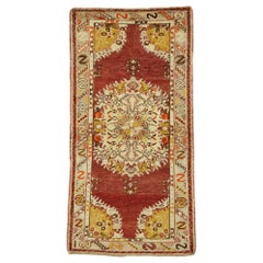 Vintage Turkish Oushak Accent Rug with Rustic French Rococo Style