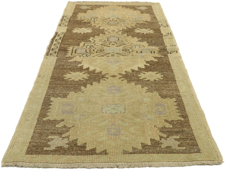 Hand-Knotted Vintage Turkish Oushak Accent Rug with Rustic Shaker Farmhouse Style For Sale
