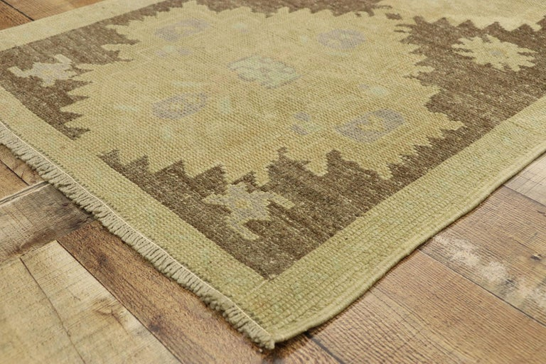 Wool Vintage Turkish Oushak Accent Rug with Rustic Shaker Farmhouse Style For Sale