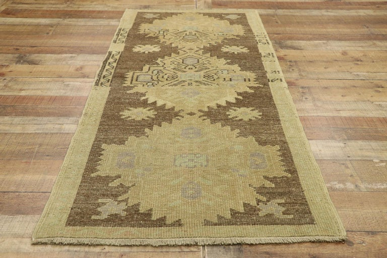 Vintage Turkish Oushak Accent Rug with Rustic Shaker Farmhouse Style For Sale 1
