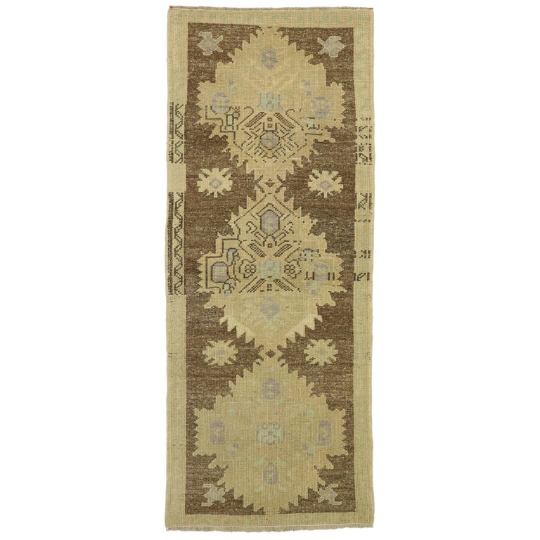 Vintage Turkish Oushak Accent Rug with Rustic Shaker Farmhouse Style For Sale