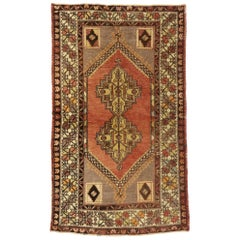 Vintage Turkish Oushak Accent Rug with Rustic Spanish Revival Style