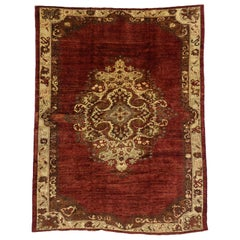 Vintage Turkish Oushak Area Rug with Luxe Medieval and Jacobean Style