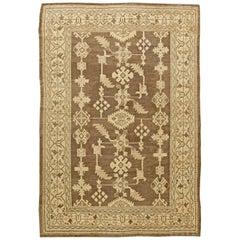 Vintage Turkish Oushak Brown and Beige Wool Rug