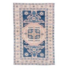 Vintage Turkish Oushak Carpet, Blue and Pink Field, Ivory Borders, Soft Palette