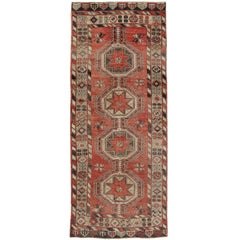 Vintage Turkish Oushak Carpet Runner Gallery Rug, Wide Hallway Runner