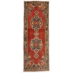 Vintage Turkish Oushak Carpet Runner with Jacobean Tudor Style