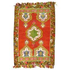 Vintage Turkish Oushak Colorful Fringe Rug