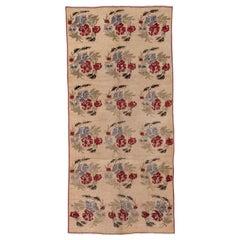 Vintage Turkish Oushak Gallery Carpet, Floral Design