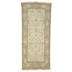 Vintage Turkish Oushak Gallery Rug, Hallway Runner with Tudor Neoclassic Style