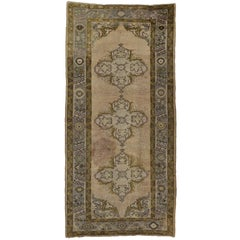 Vintage Turkish Oushak Gallery Rug in Soft Colors, Wide Hallway Runner