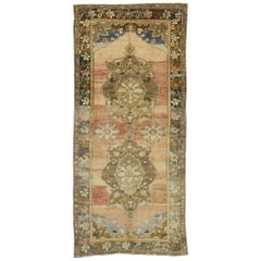 Vintage Turkish Oushak Gallery Rug Rustic Colonial Style