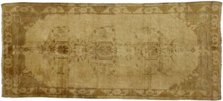 Wool Vintage Turkish Oushak Gallery Rug, Wide Hallway Runner  For Sale