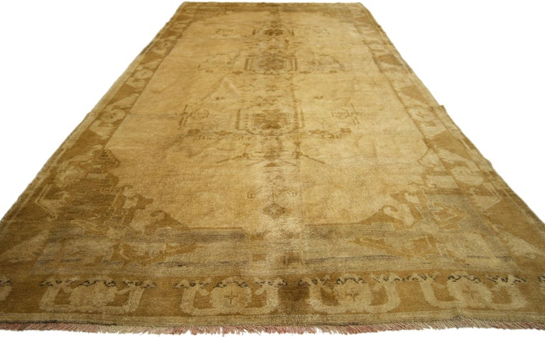 Vintage Turkish Oushak Gallery Rug, Wide Hallway Runner  For Sale 2