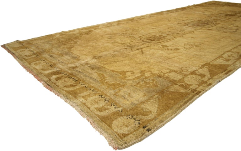 Vintage Turkish Oushak Gallery Rug, Wide Hallway Runner  For Sale 3