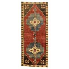 Vintage Turkish Oushak Gallery Rug with Art Deco and Mid-Century Modern Style