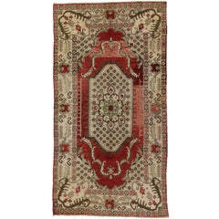 Vintage Turkish Oushak Gallery Rug with Classic Medallion and Corner Motif