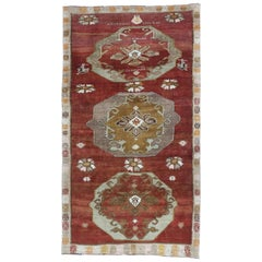Vintage Turkish Oushak Gallery Rug with Jacobean or Tudor Style