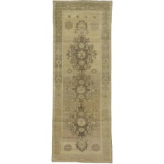 Vintage Turkish Oushak Gallery Rug with Muted Colors, Wide Hallway Runner