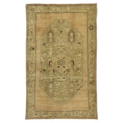 Vintage Turkish Oushak Gallery Rug with Rustic Chinoiserie Style and Warm Colors
