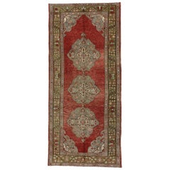 Vintage Turkish Oushak Gallery Rug with Rustic Jacobean Style, Wide Runner