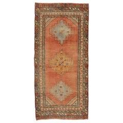 Vintage Turkish Oushak Gallery Rug with Spanish Mission Style, Hallway Runner
