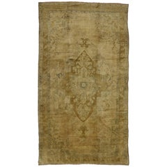 Vintage Turkish Oushak Gallery Rug with Traditional Style