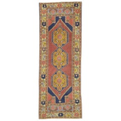 Vintage Turkish Oushak Hallway Runner with Arts & Crafts Style