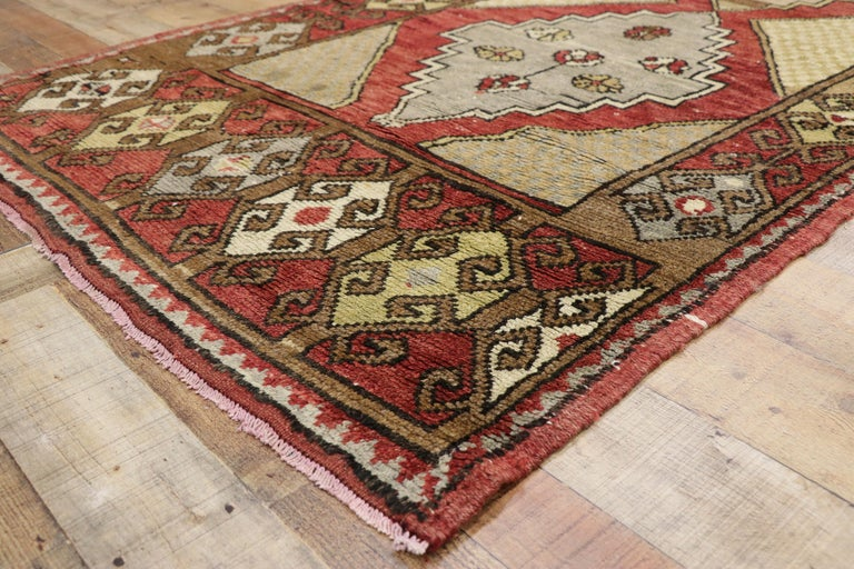 Vintage Turkish Oushak Hallway Runner with Craftsman Tribal Style For Sale 1