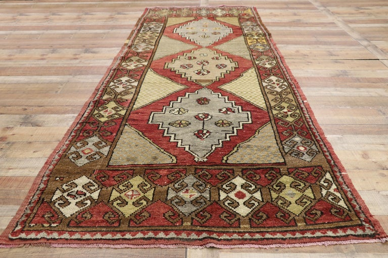Vintage Turkish Oushak Hallway Runner with Craftsman Tribal Style For Sale 2