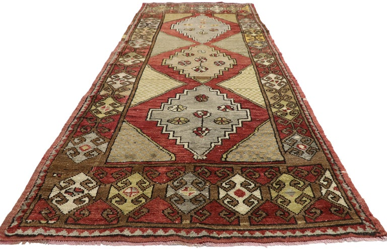 Hand-Knotted Vintage Turkish Oushak Hallway Runner with Craftsman Tribal Style For Sale
