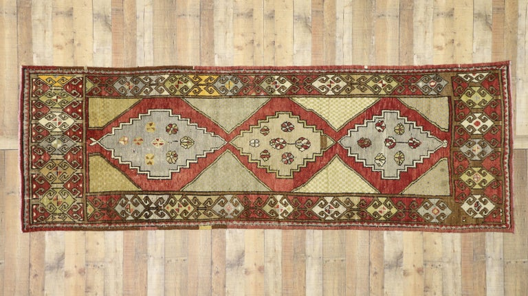 Vintage Turkish Oushak Hallway Runner with Craftsman Tribal Style For Sale 3