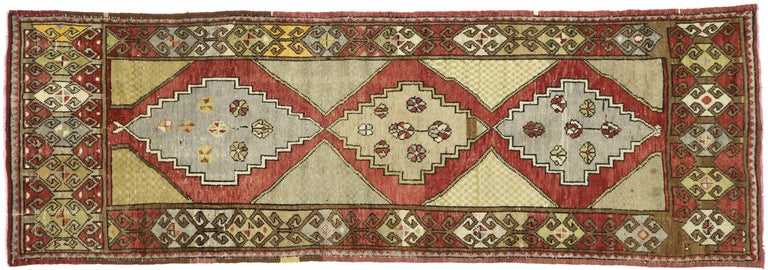 Wool Vintage Turkish Oushak Hallway Runner with Craftsman Tribal Style For Sale