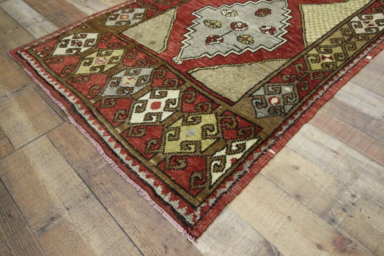 Vintage Turkish Oushak Hallway Runner with Craftsman Tribal Style For Sale 4