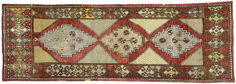 Vintage Turkish Oushak Hallway Runner with Craftsman Tribal Style For Sale 5